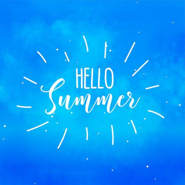 Здравствуй лето, синий акварельный фон Бесплатные векторы