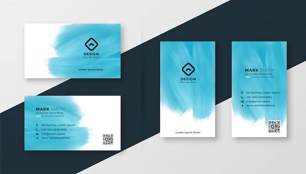 抽象的なブルーの水彩画クリエイティブ名刺デザイン 無料ベクター