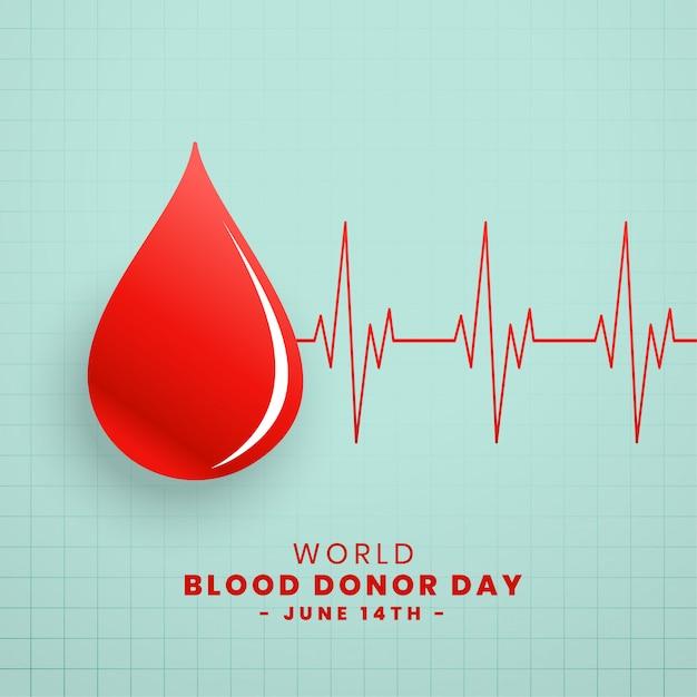 赤の献血者日コンセプトの背景のドロップ 無料ベクター
