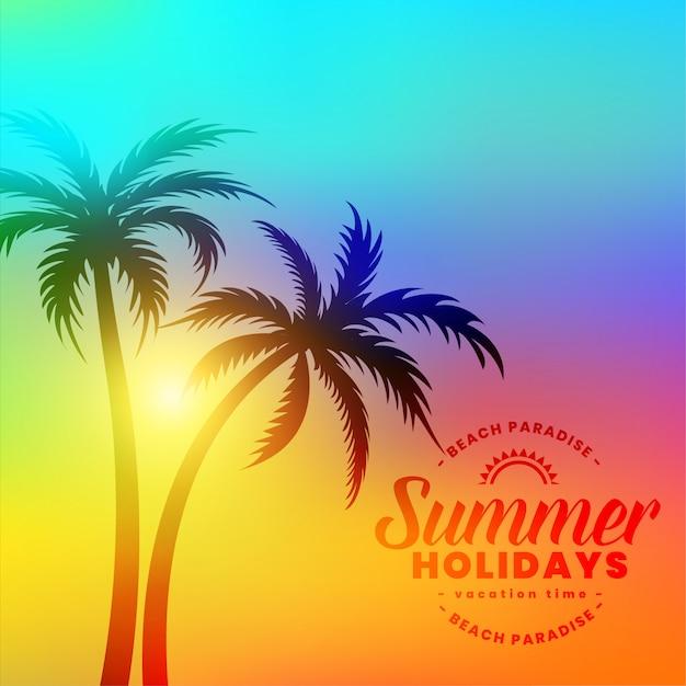 Прекрасные красочные летние каникулы фон с пальмами Бесплатные векторы