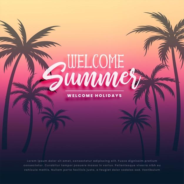Добро пожаловать летние каникулы фон Бесплатные векторы