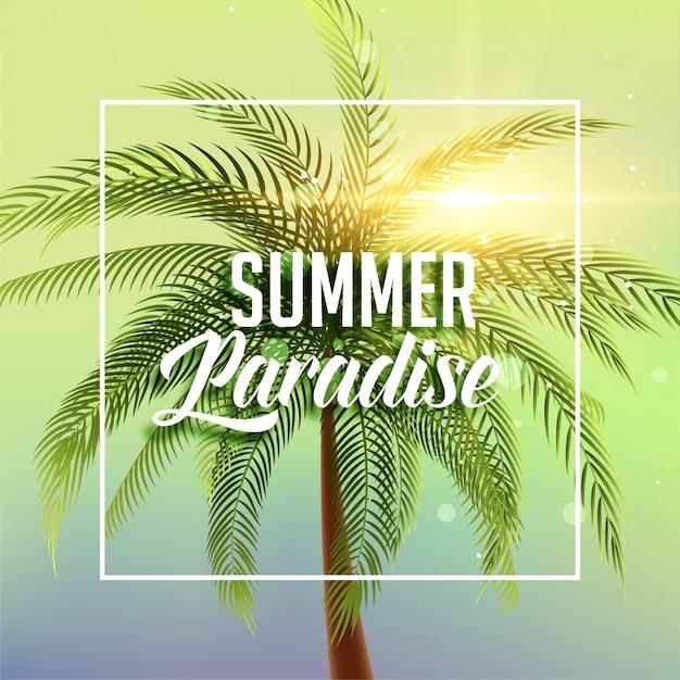 Летний райский плакат с пальмой и солнечным светом Бесплатные векторы