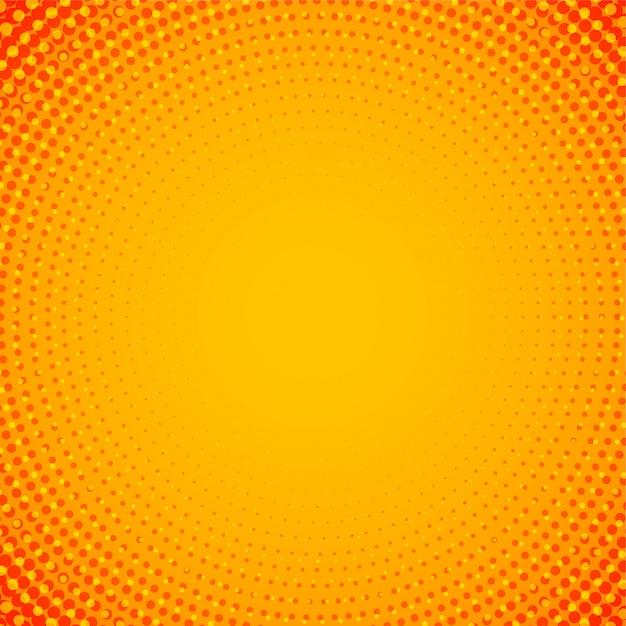 抽象的なオレンジ色の円形ハーフトーンの背景 無料ベクター