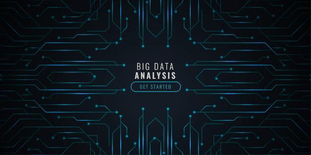 Фон технологии анализа данных с принципиальной схемой Бесплатные векторы