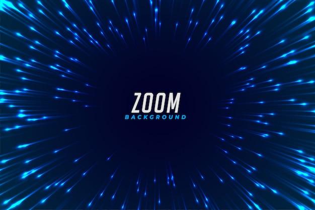 抽象的な青い光るズーム効果の背景 無料ベクター