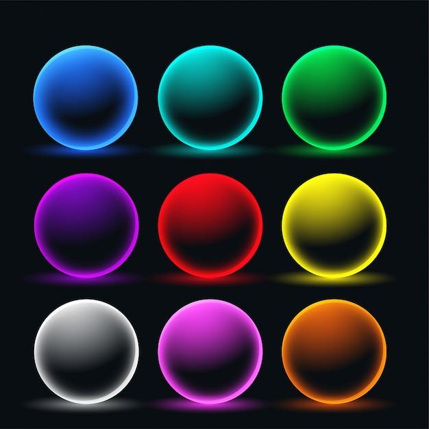 ネオン輝く球体円セット 無料ベクター