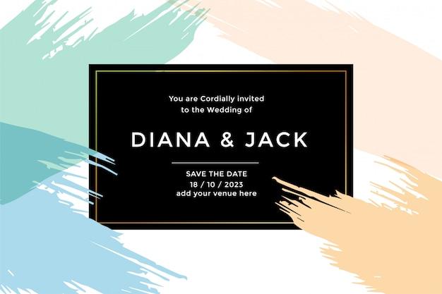 抽象的なウェディングカードの招待状のテンプレート 無料ベクター