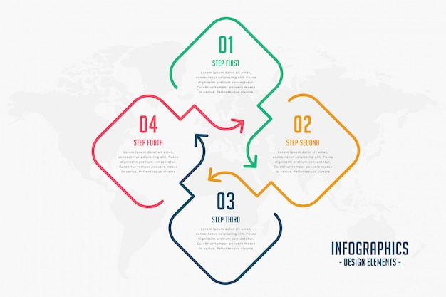 Креативный стиль линии четыре шага инфографики дизайн Бесплатные векторы