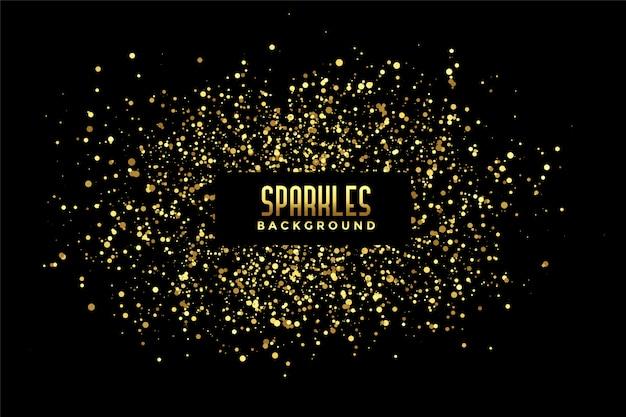 金色のキラキラ輝きと抽象的な黒の背景 無料ベクター