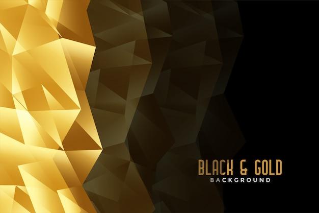 Абстрактный низкий поли золотой и черный фон Бесплатные векторы