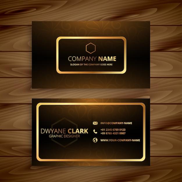 Премиум золотая визитка Бесплатные векторы