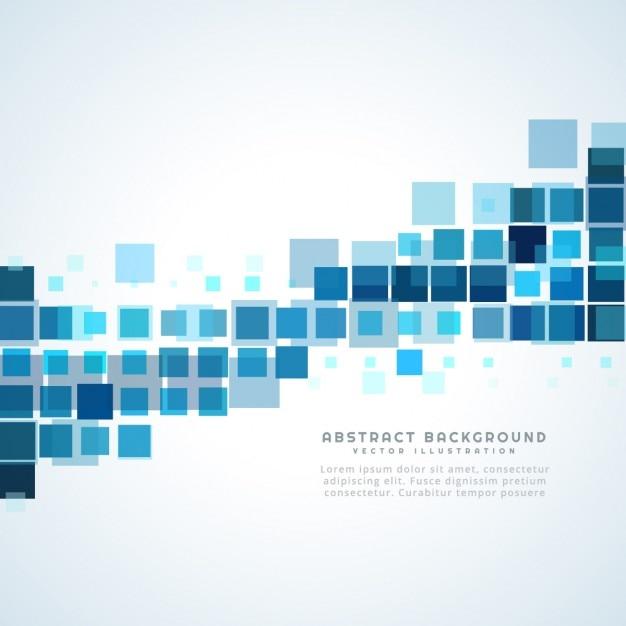 青い四角の抽象的な背景 無料ベクター