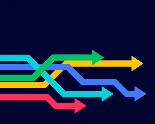 カラフルな幾何学的な矢印を前方に移動 無料ベクター