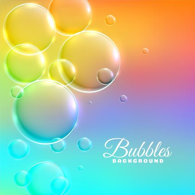 光沢のある泡とカラフルな背景 無料ベクター