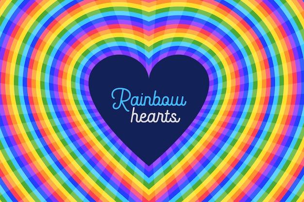 Красочная радуга сердца фон Бесплатные векторы