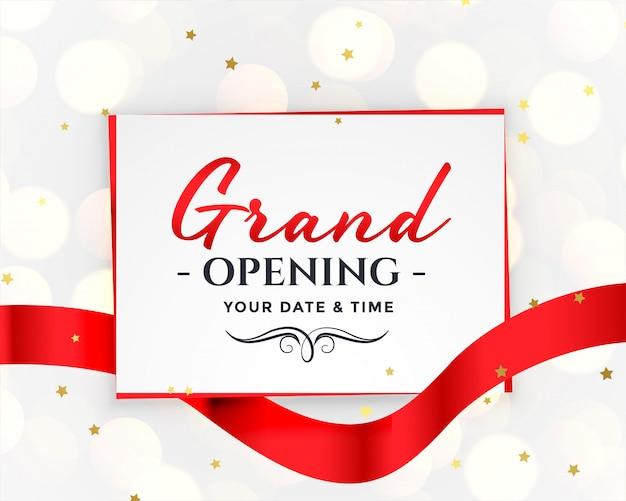 グランドオープンホワイトの招待状 無料ベクター