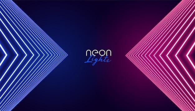 幾何学的なネオンの抽象的な背景 無料ベクター