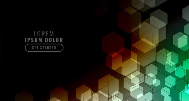 カラフルな六角形のグリッドと黒の背景 無料ベクター