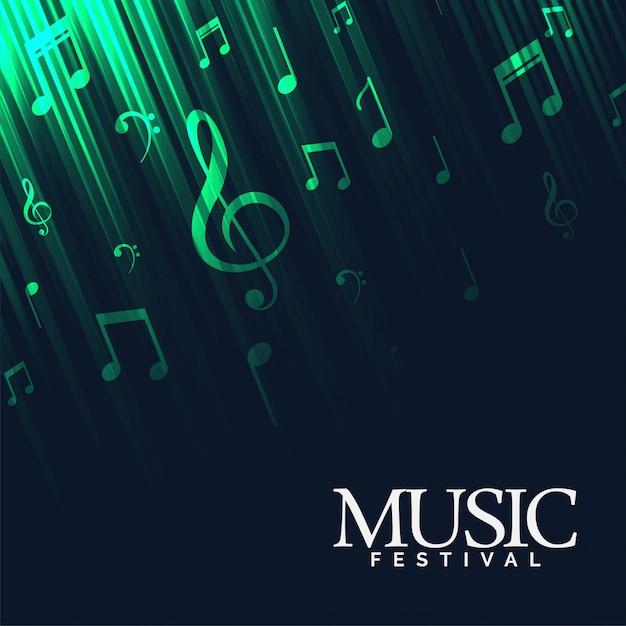 Абстрактный музыкальный фон с зелеными неоновыми огнями Бесплатные векторы