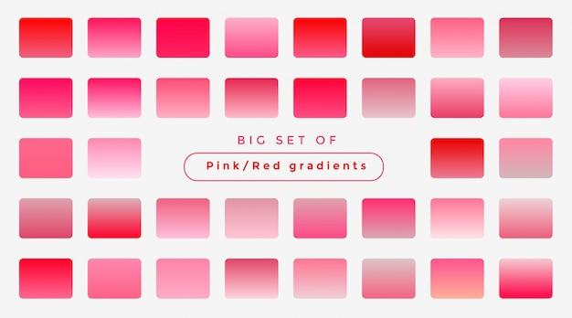 柔らかいピンクのグラデーションの大きなセット 無料ベクター