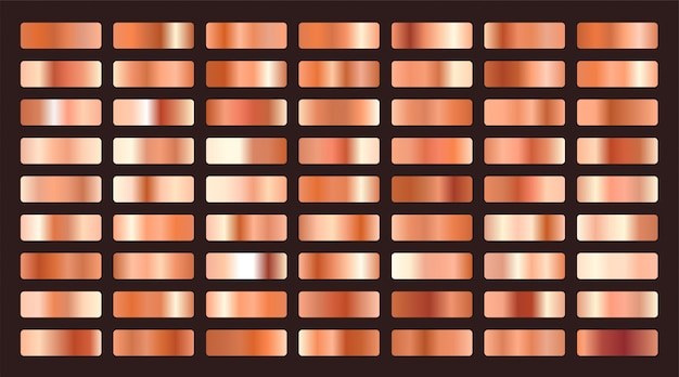 メタリックオレンジまたは銅グラデーションビッグセット 無料ベクター
