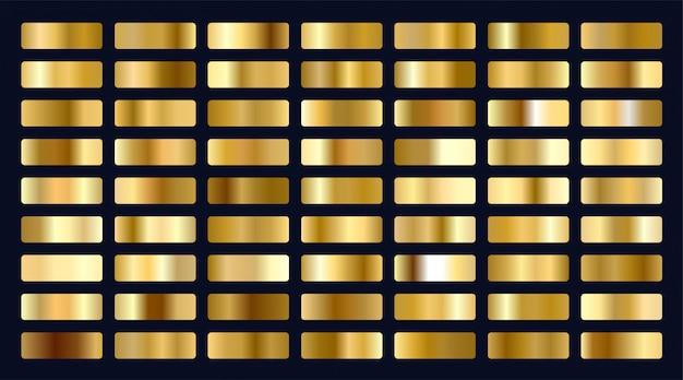 メタリックゴールドのグラデーションの大きなセット 無料ベクター