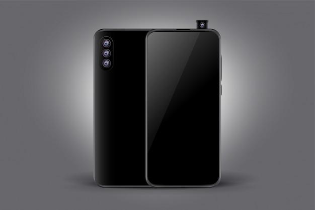 トリプルカメラブラックのスマートフォンのコンセプトモックアップ 無料ベクター