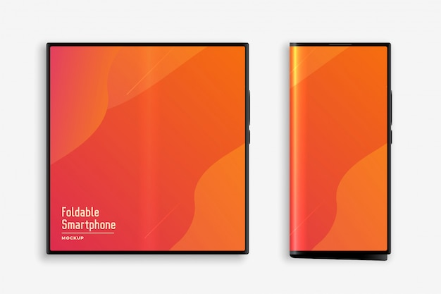 折りたたみ式スマートフォンのコンセプトモックアップ 無料ベクター
