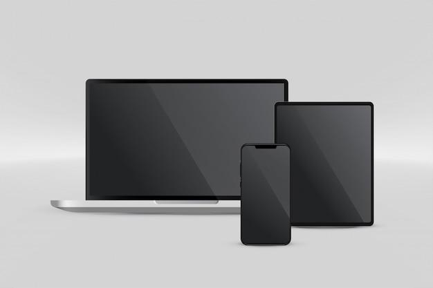 ノートパソコンのタブレットとスマートフォンのプレゼンテーション表示 無料ベクター