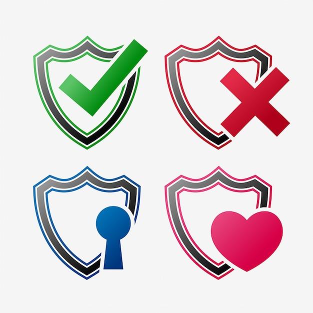 Набор иконок безопасности щит Бесплатные векторы