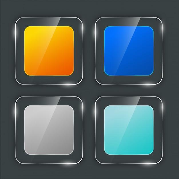 Набор стильных глянцевых стеклянных кнопок Бесплатные векторы