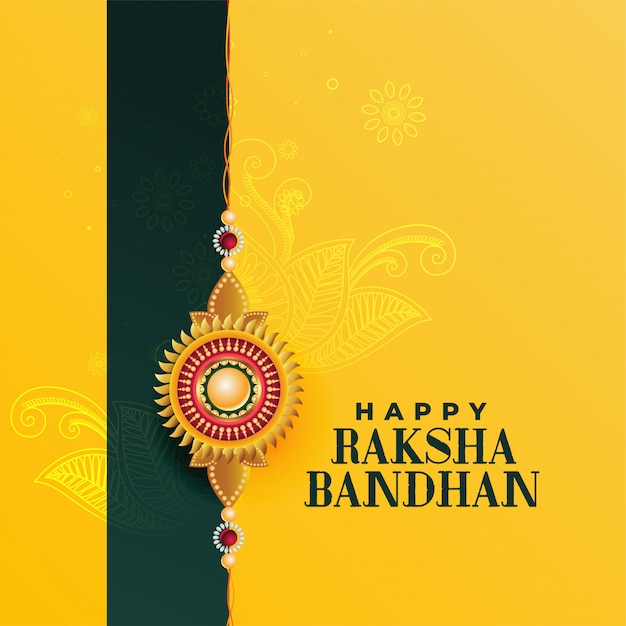 幸せなラクシャバンダンインド祭り、美しいグリーティングカード 無料ベクター