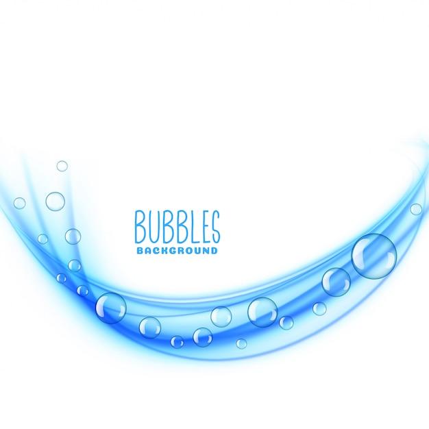 波状の青い泡の背景 無料ベクター