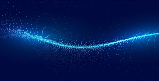 ブルーテクノ粒子波の光の背景 無料ベクター