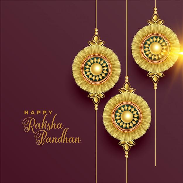 Красивый золотой фон ракхи для ракшабандхана Бесплатные векторы
