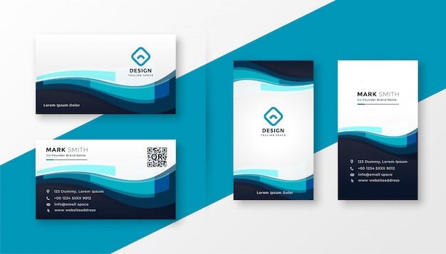 Стильная синяя корпоративная визитка Бесплатные векторы