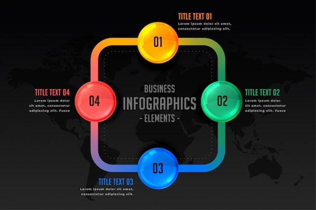 Инфографическая презентация с шаблоном из четырех шагов Бесплатные векторы