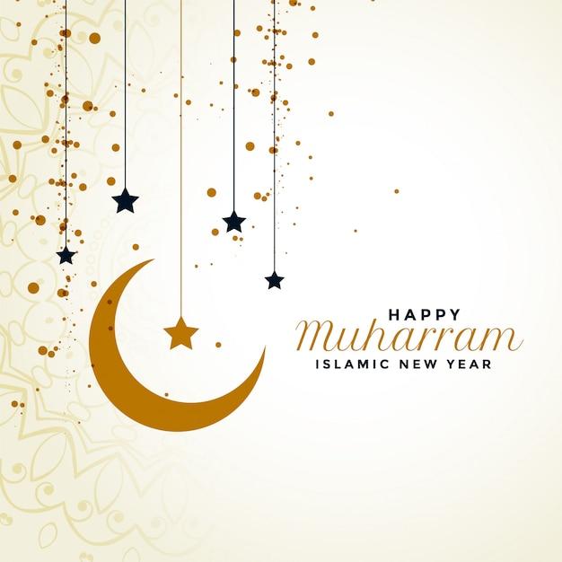 Счастливое приветствие мухаррама с луной и звездным фоном Бесплатные векторы