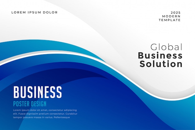 青い色のビジネスプレゼンテーション波状プレゼンテーションテンプレート 無料ベクター