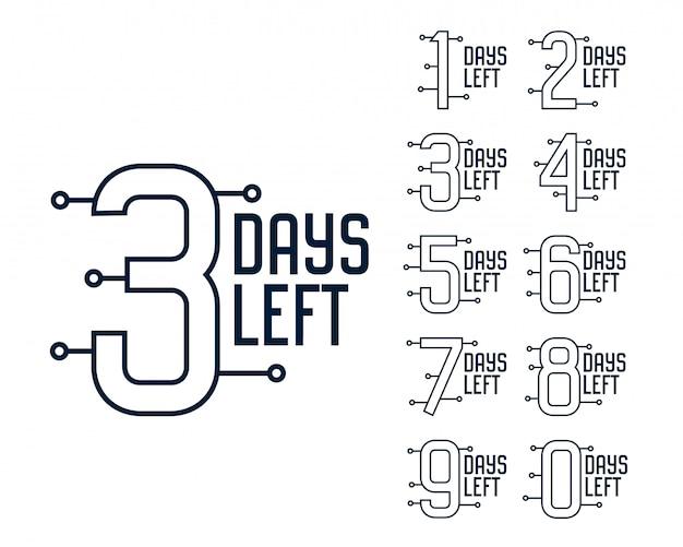 Количество дней, оставшихся до таймера Бесплатные векторы