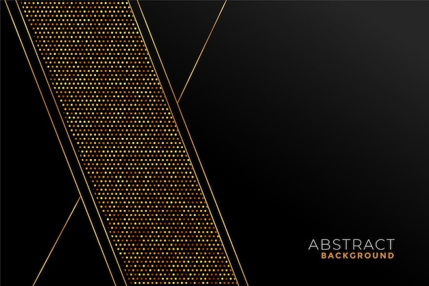幾何学的形状の黒と金のスタイリッシュなパターン 無料ベクター