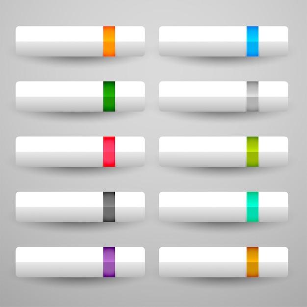 Белые кнопки в десять блестящих цветов Бесплатные векторы