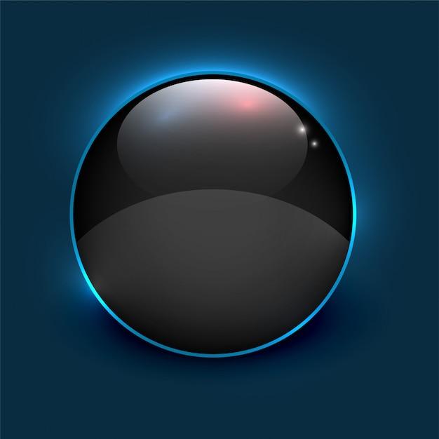 青の背景に黒の光沢のあるミラーサークルフレーム 無料ベクター