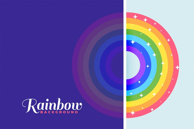 輝く星とカラフルな虹の背景 無料ベクター