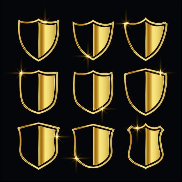 素敵なゴールデンセキュリティシンボルまたはシールドセット 無料ベクター