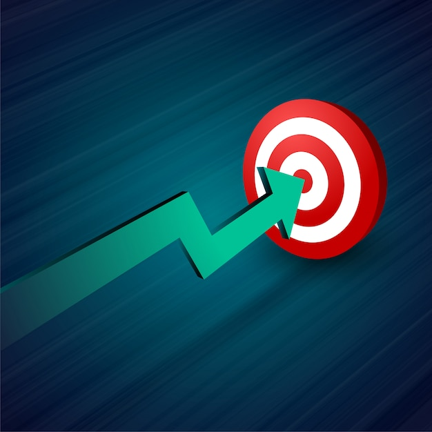 ターゲット事業の背景に向かって移動する矢印 無料ベクター