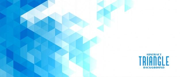 抽象的な青い三角形モザイクグリッド背景 無料ベクター
