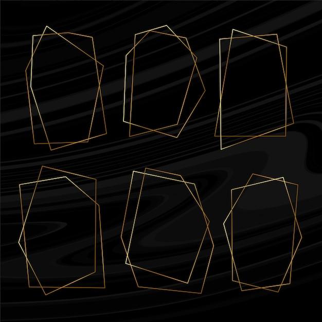 Набор геометрических золотых рамок Бесплатные векторы