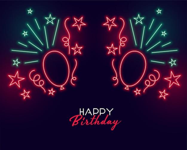 Неоновый стиль с днем рождения фон с воздушными шарами Бесплатные векторы