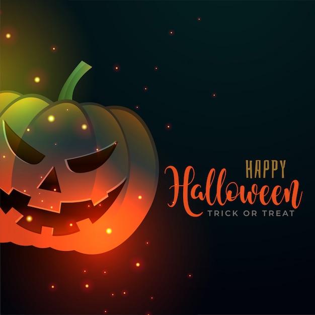 Счастливый хэллоуин фон со злой тыквой Бесплатные векторы